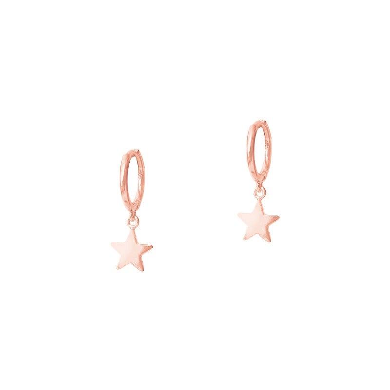 Pendientes de aro con colgante en forma de estrella en oro rosa
