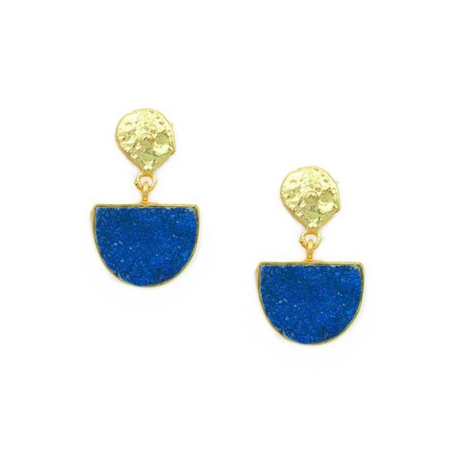 pendientes piedras drusas en color azul klein