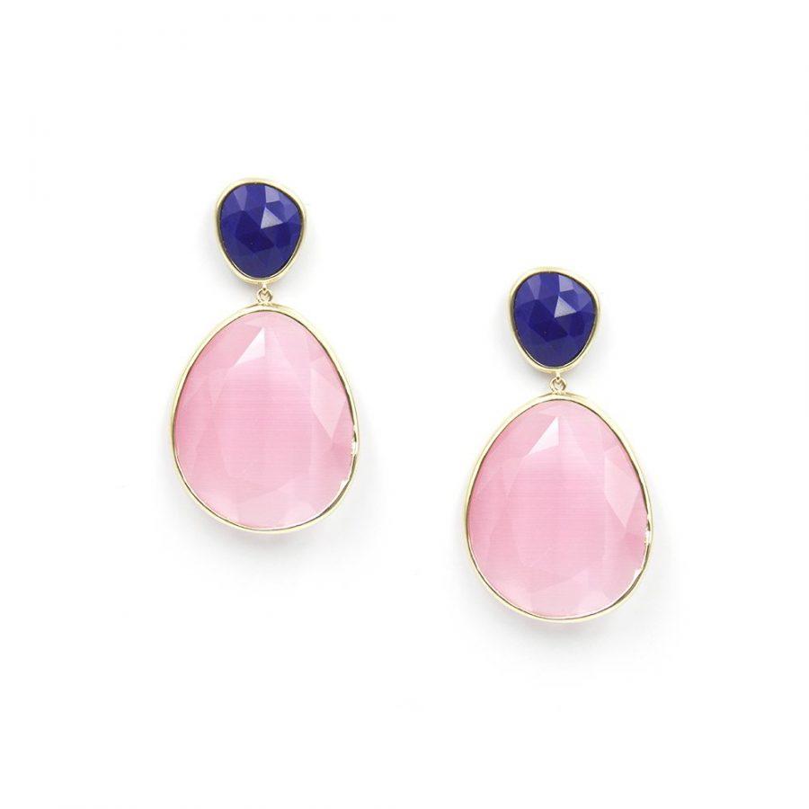 pendientes de cristal en color azul klein y rosa