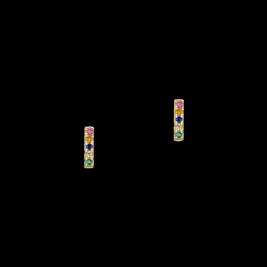 Pendientes en forma de barrita decorada con cristales multicolor