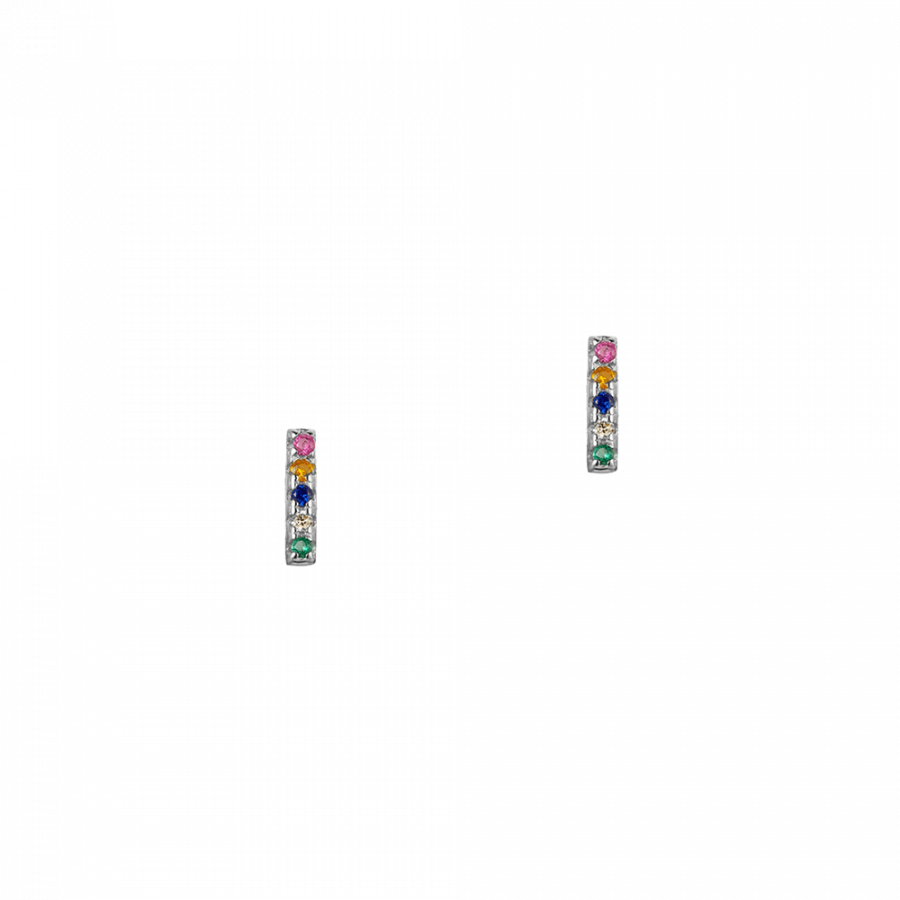 Pendientes en forma de barra con cristales multicolor