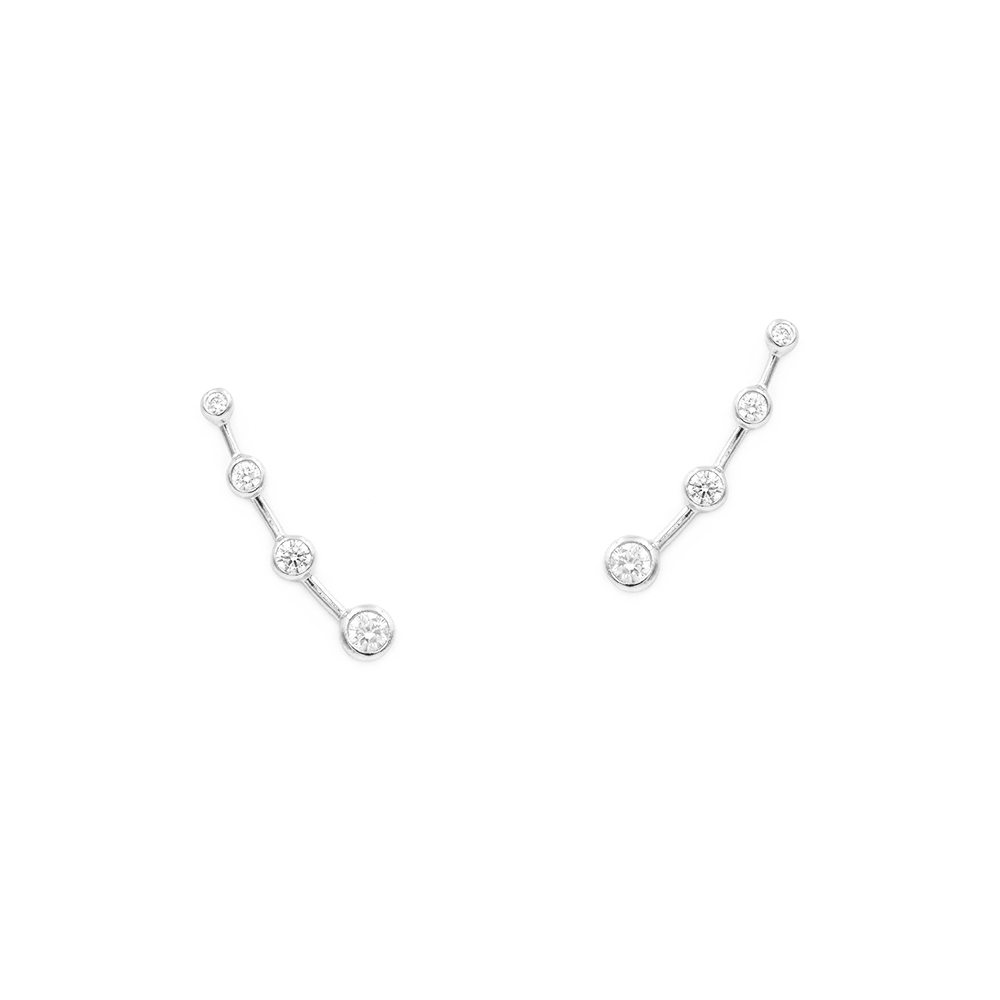 pendientes trepadores con circonitas blancas en plata de ley estilo constelación