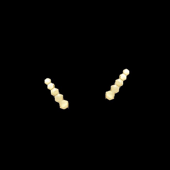 Pendientes trepadores hexagonales dorados