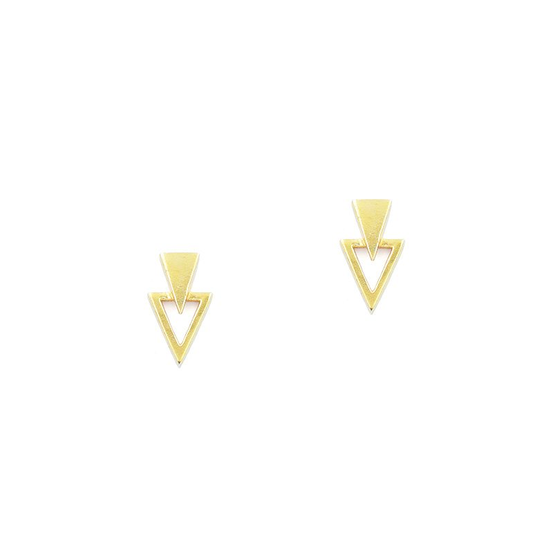 pendientes de triángulo con baño de oro