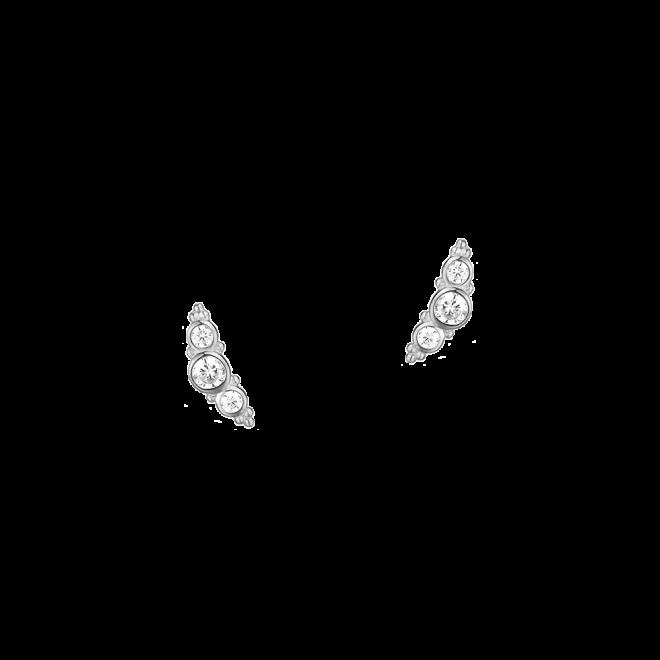 Pendientes trepadores con tres circonitas en plata