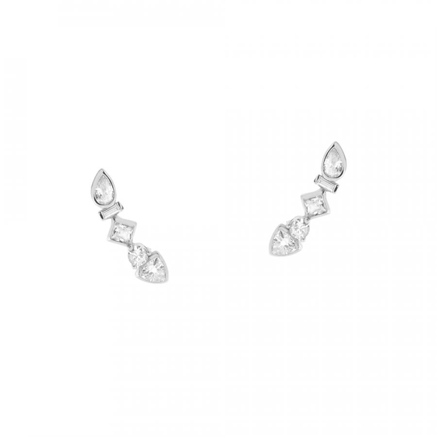 Pendientes de fiesta en plata de ley con cristales