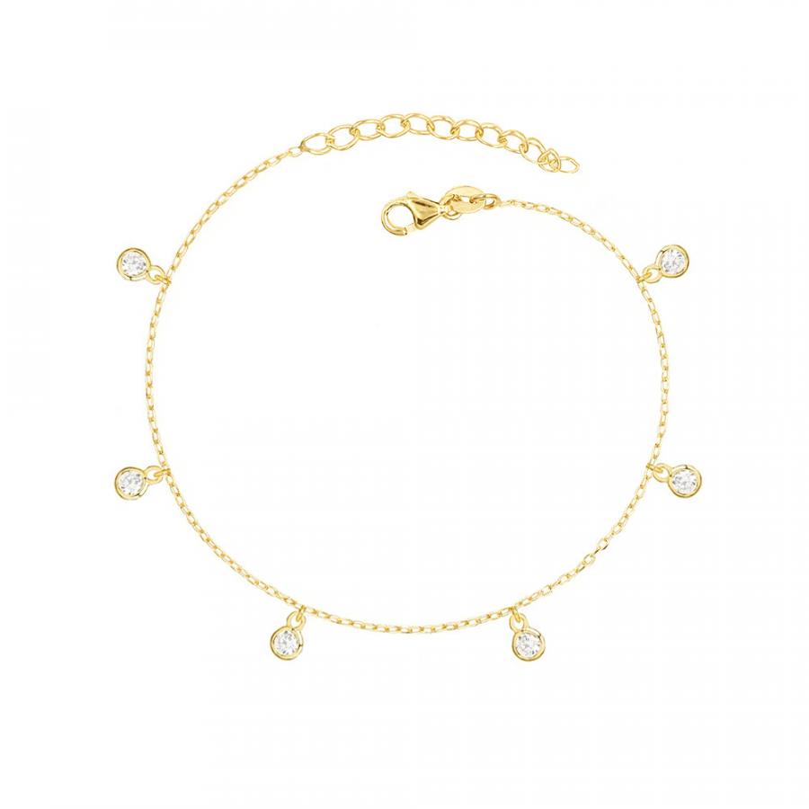 Pulsera en plata de ley bañada en oro rosa con charms de circonita blanca en todo el perímetro