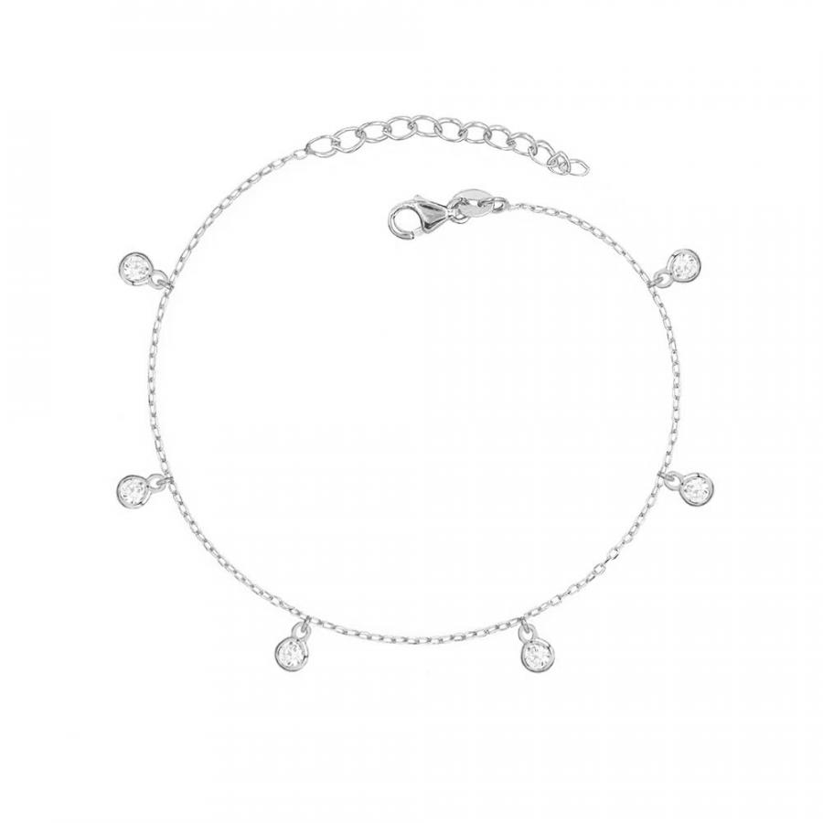 Pulsera de plata con charms de cristal en todo el perímetro