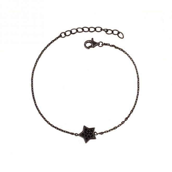 Pulsera con estrella de circonitas con baño de rodio negro