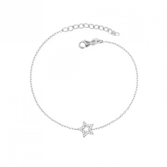 Pulsera con estrella decorada con cristales en plata de ley