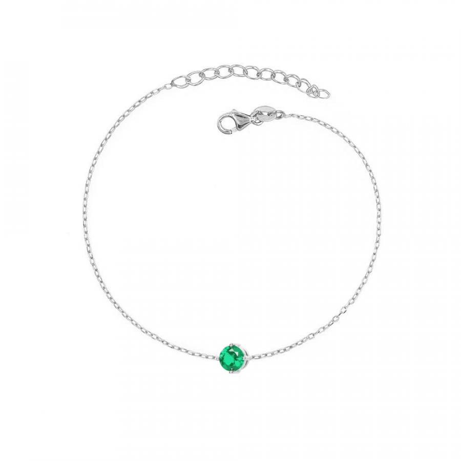 Pulsera con circonita central en color verde esmeralda en plata de ley