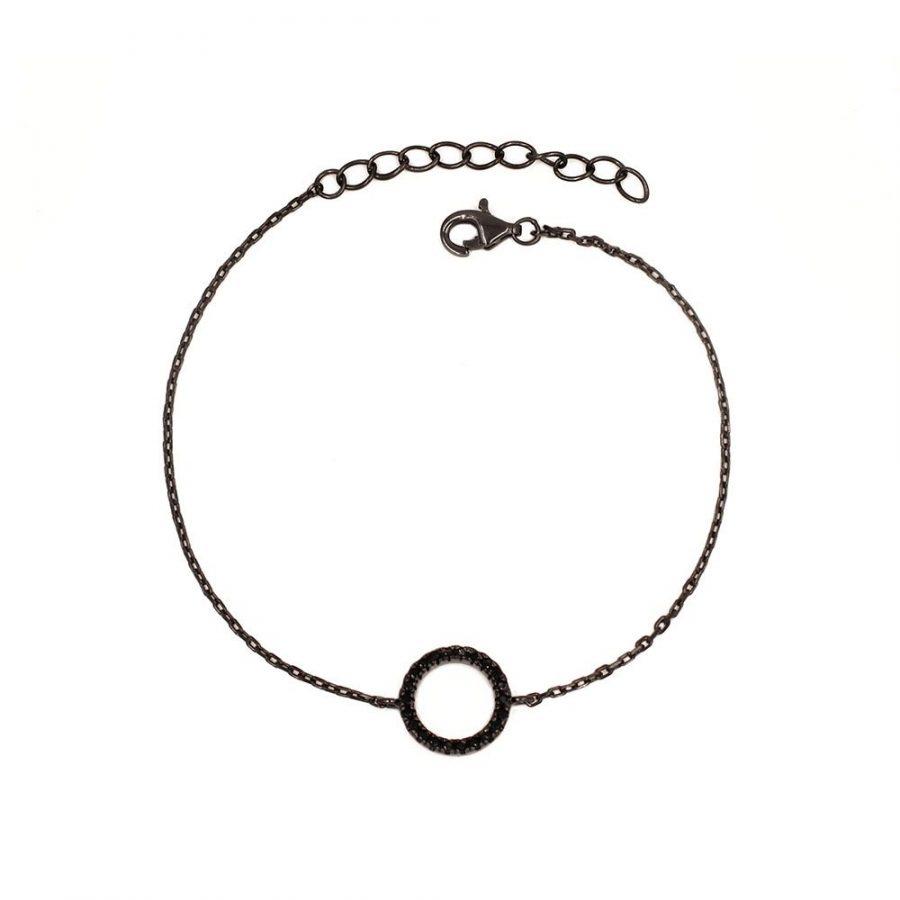 Pulsera con círculo karma en rodio negro