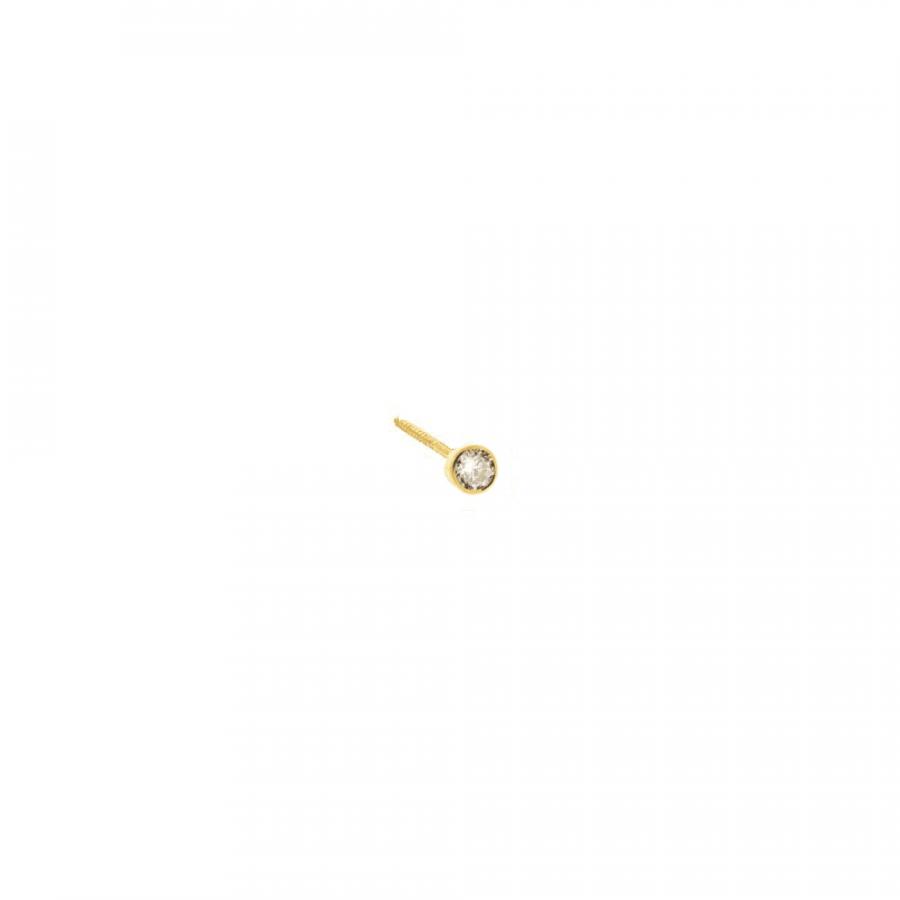 Pendiente circonita blanca con cierre de rosca estilo bebé