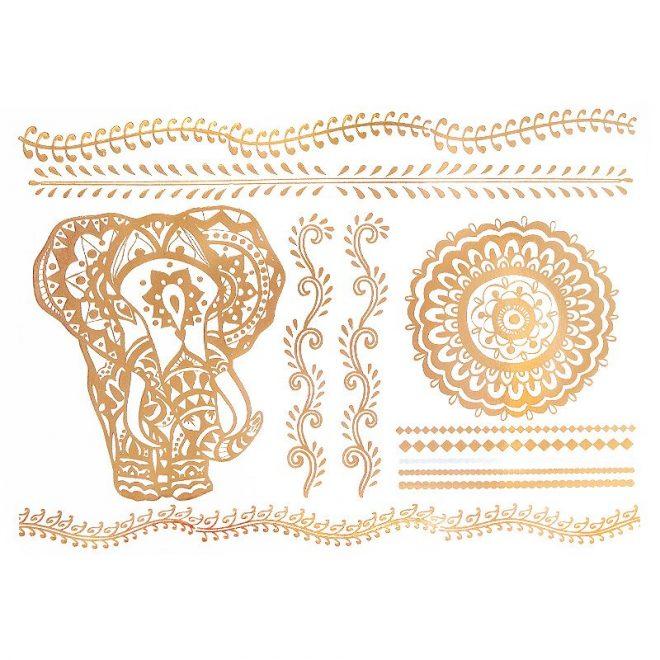 comprar tatuajes metalizados gold